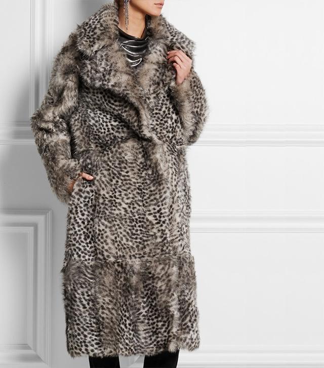 Topshop Unique D'Arblay Cheetah-Print Shearling Coat ($