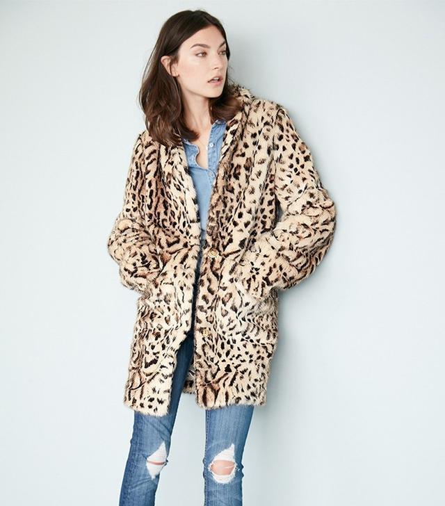 Via Spiga Cheetah-Print Faux Fur Coat