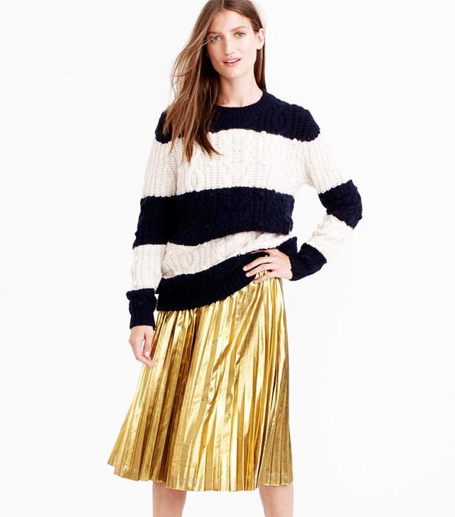 J.Crew Pleated Midi Skirt in Metallic