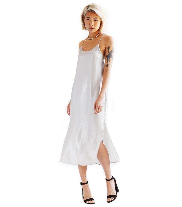 Silence + Noise Sadie Satin Midi Slip Dress