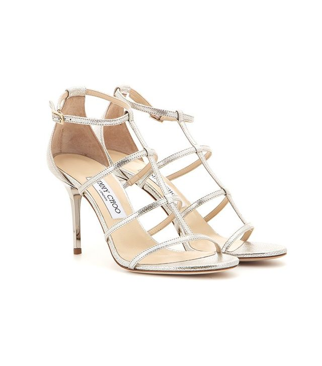 Jimmy Choo Dory Metallic Leather Sandals