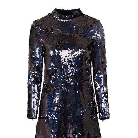 High Neck Sequin Dress