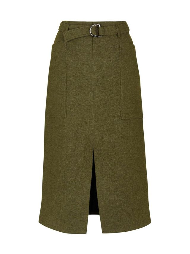 Topshop Belted Split Midi Skirt