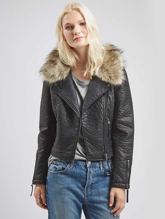 Topshop Faux Fur Collar Biker Jacket
