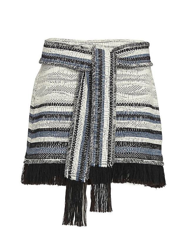 Derek Lam 10 Crosby Fringe Tie Belt Tweed Skirt