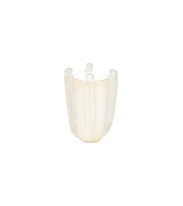 Murano White Avventurina Glass Vase