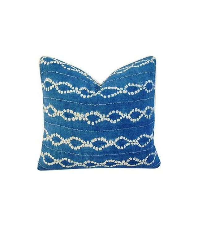 Chairish Custom Blue and White Batik Cotton Linen Pillow