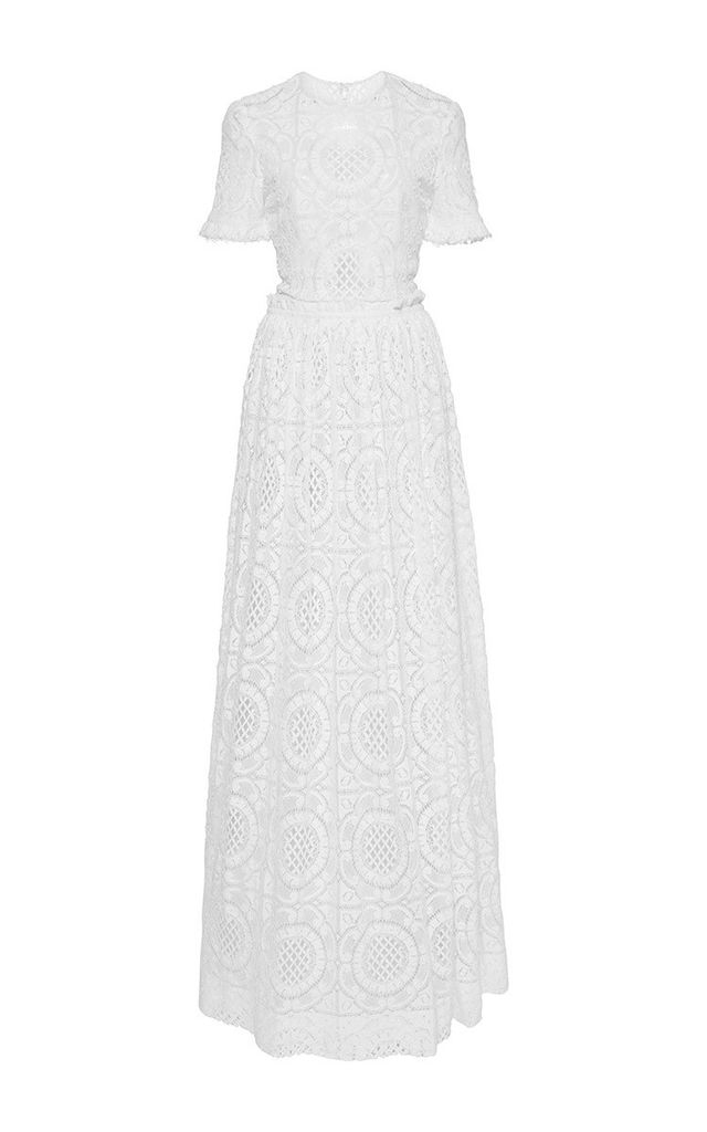 Costarellos Short Sleeve Cotton Lace Gown