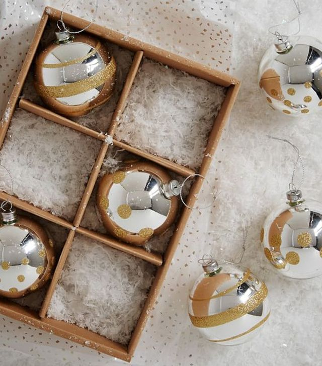 West Elm Silver Luster Ornaments