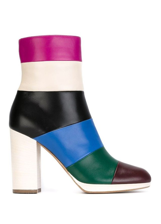 Valentino Striped Colorblock Ankle Boots