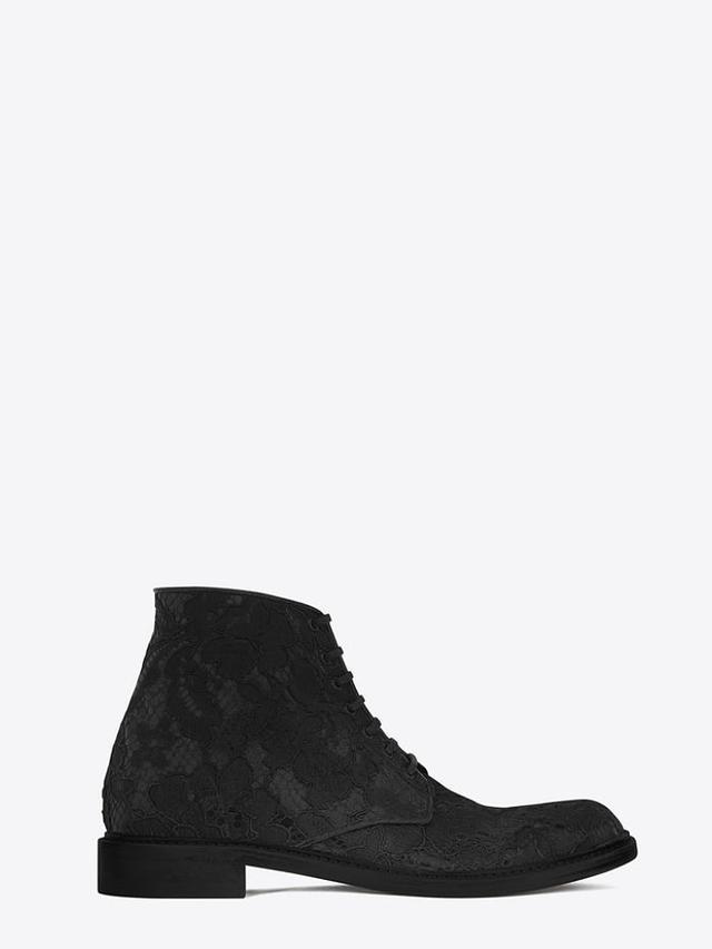 Saint Laurent Lolita 20 Lace-Up Boot, Black Lace
