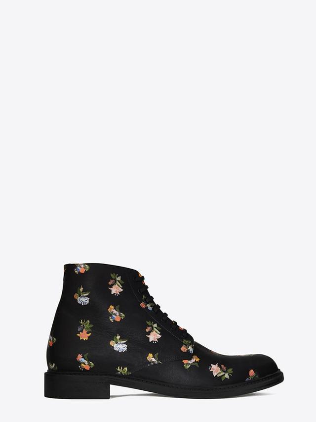 Saint Laurent Lolita 20 Lace-Up Boot, Black and Multicolor Prairie Flower
