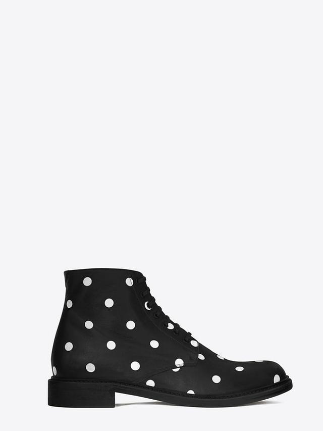 Saint Laurent Lolita 20 Lace-Up Boot, Black and White Polka Dot