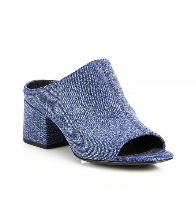 3.1 Phillip Lim Cube Denim Open-Toe Slide Sandals