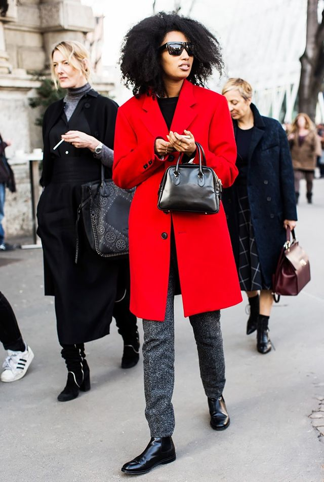 Add some color to your favorite office hero pieces by way of a bright red coat.
