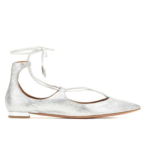 Christy Flat Glittered Leather Ballerinas