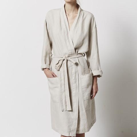 IN BED 100% Linen Robe in Dove Grey