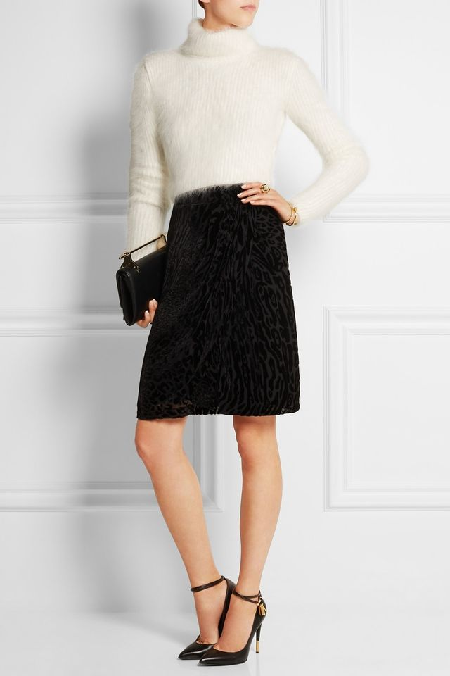 Roberto Cavalli Cropped Ribbed Angola-Blend Turtleneck Sweater