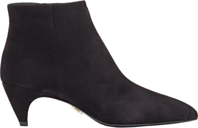 Prada Suede Curved-Heel Ankle Boots