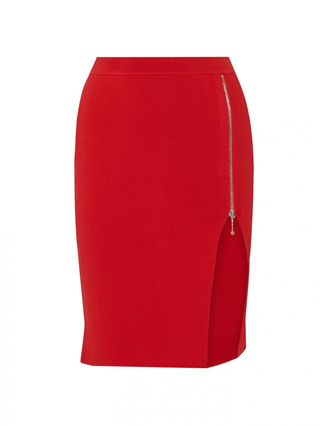 Alexander Wang Zip-Detailed Stretch-Knit Pencil Skirt
