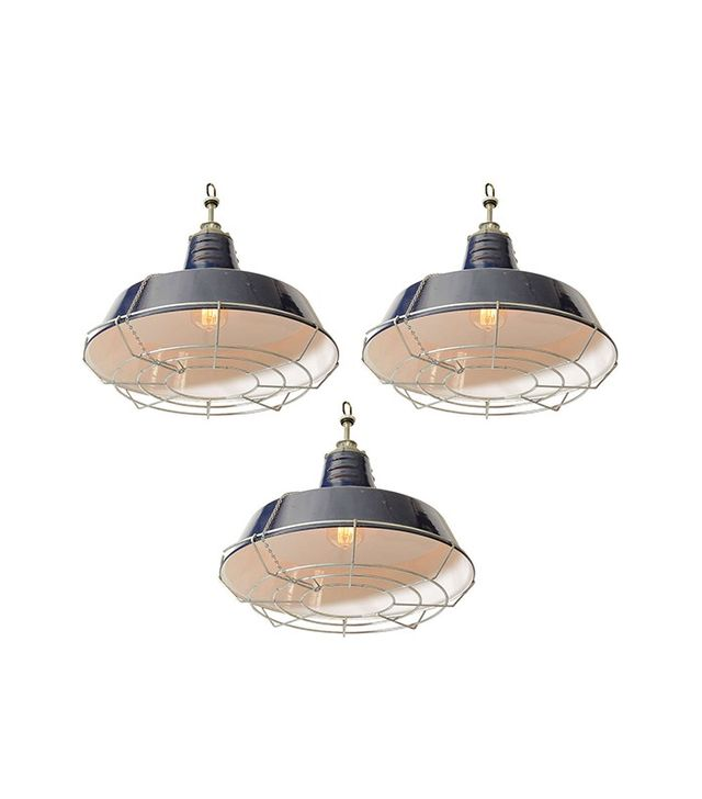 Liza Sherman USA Blue Industrial Enamel Shade Cage Pendant Lights