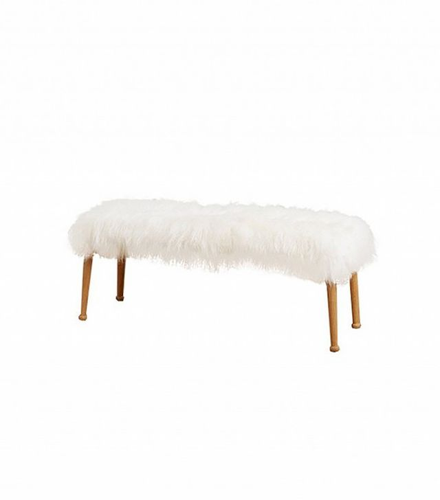 Anthropologie Luxe Fur Bench