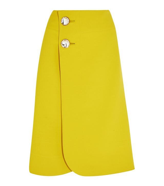 Marni Crystal-Embellished Wool-Crepe Wrap Skirt