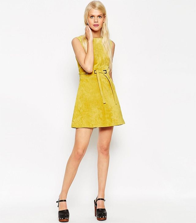 ASOS A-Line Dress in Suede