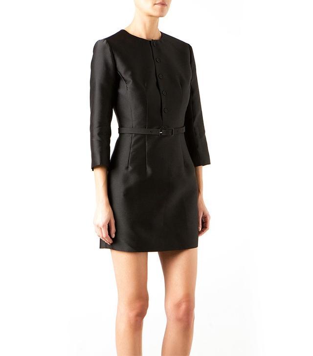 Montaigne Market Carven Black Mixed Silk Cady Mini Dress