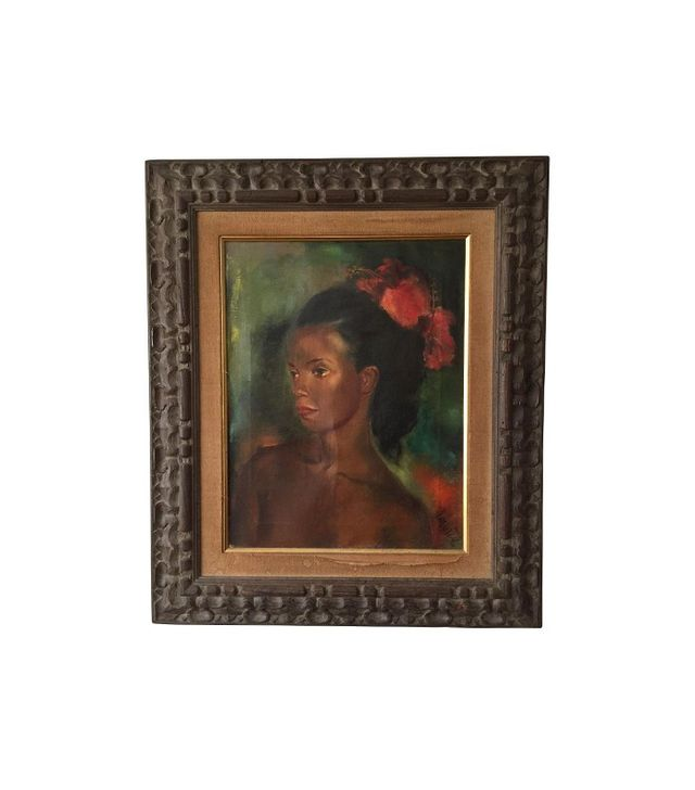 "Chairish Signed Jan De Ruth ""Native Girl"" Oil Canvas"