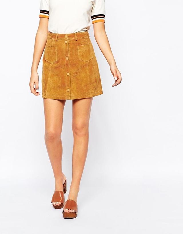 ASOS Monki A-Line '70s Suede Skirt