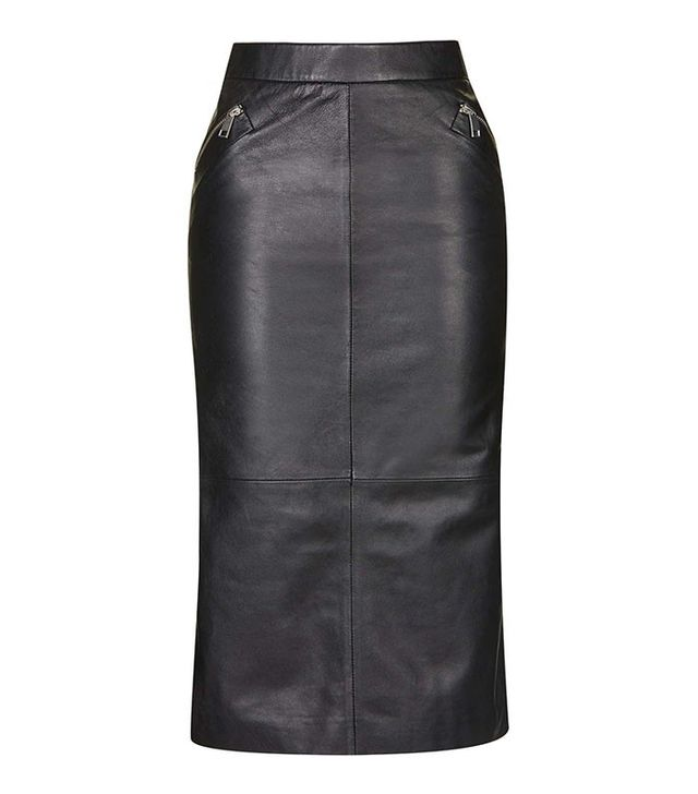 Topshop Leather Zip Pencil Skirt