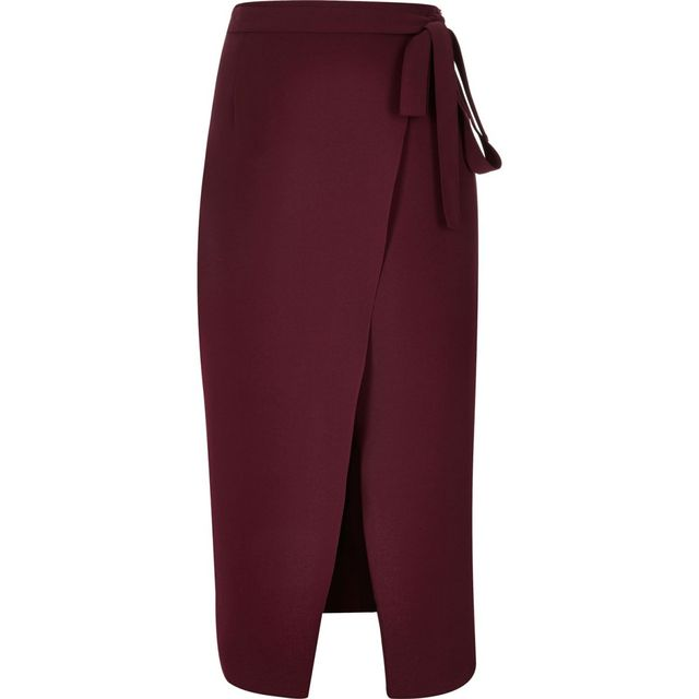 River Island Wrap Split Front Midi Skirt