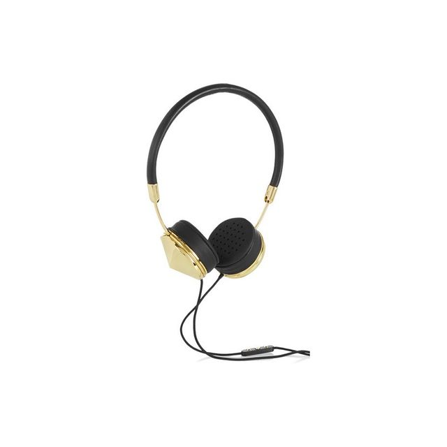 Frends Layla leather and gold-tone headphones