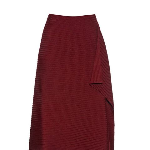 Wrap-Effect Ribbed-Knit Wool Skirt