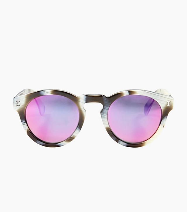 Illesteva Leonard Horn Frames Pink Mirrored Sunglasses