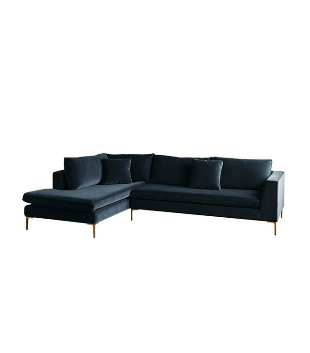 Anthropologie Velvet Edlyn Left Sectional