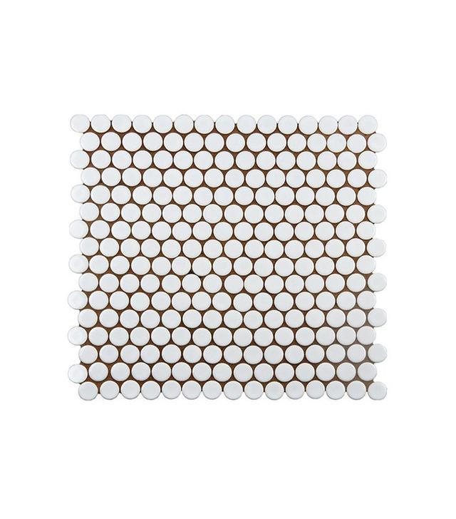Home Depot Hudson Penny Round White Porcelain Mosaic Tile