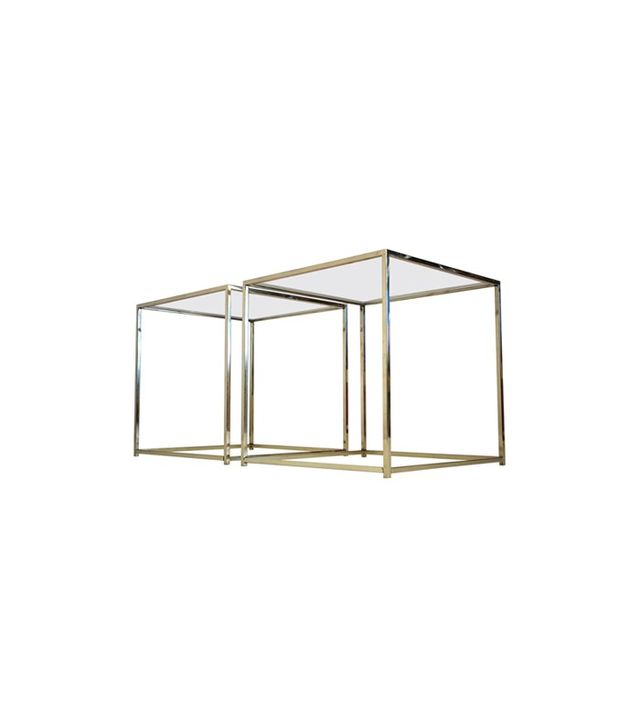 Maison Jansen Brass and Glass Cube Side Tables