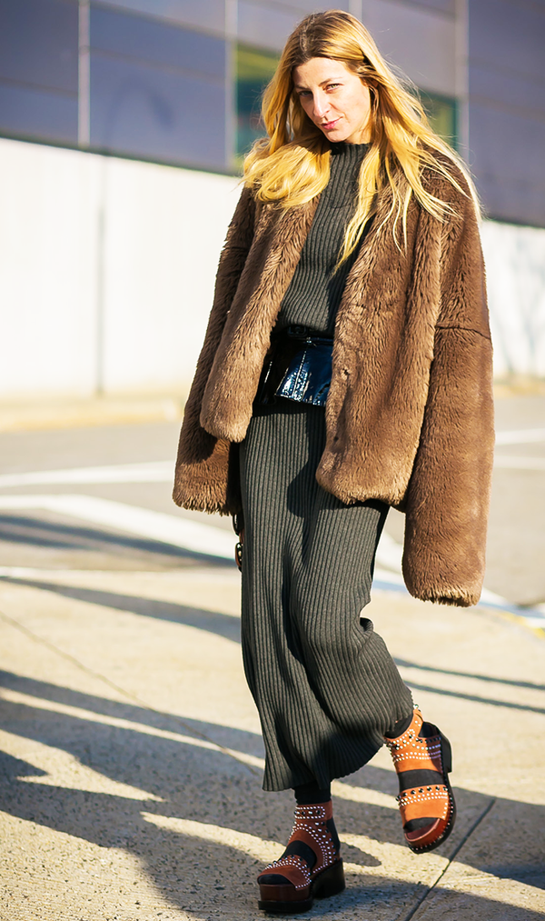 Try a cozier knit version and top it off with a faux-fur coat. Feeling extra playful? Layer a fun pair of socks with a platform sandal.