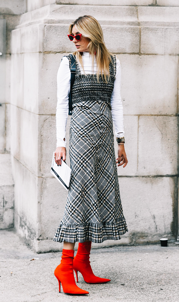 Bring your summer maxis back to life bylayering athin turtleneck underneath.