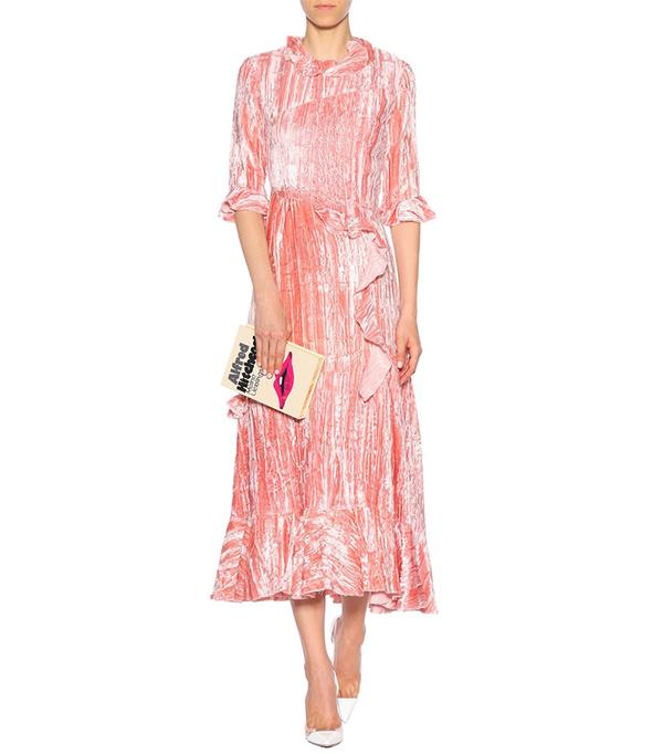 Alina Ruffle-trimmed Crushed-velvet Midi Dress