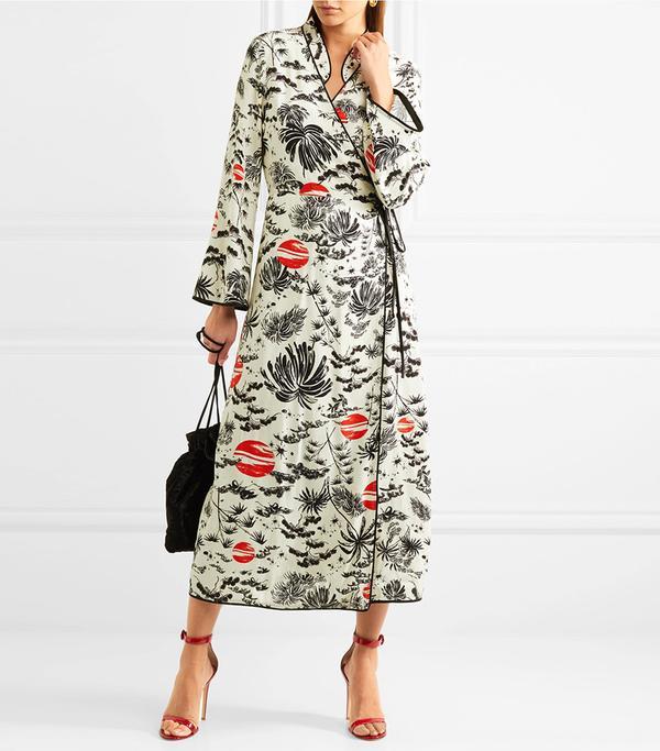 Cindy Printed Crepe Wrap Dress