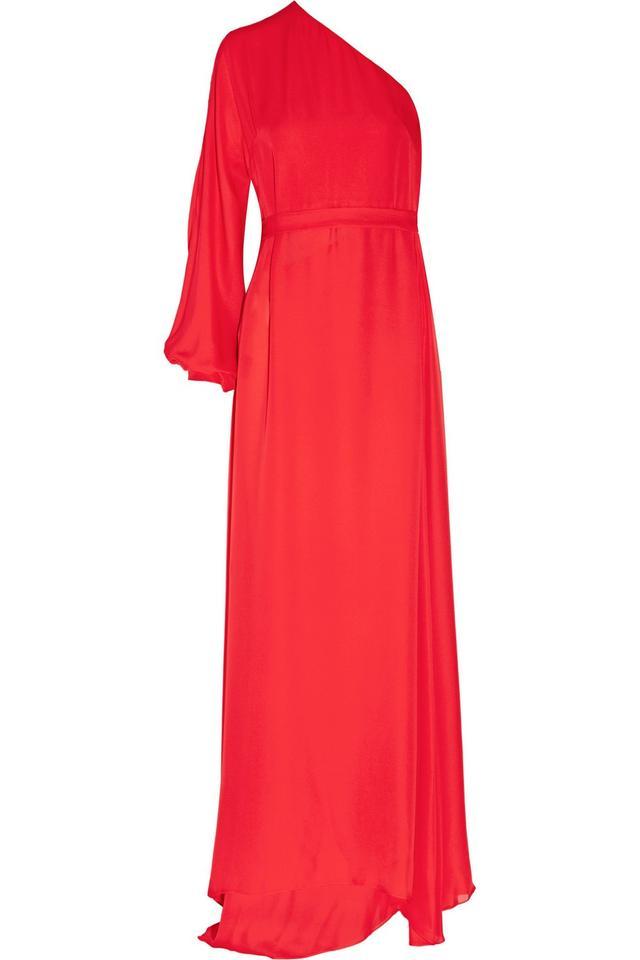 Rosetta Getty One-Sleeve Silk-Chiffon Wrap Gown