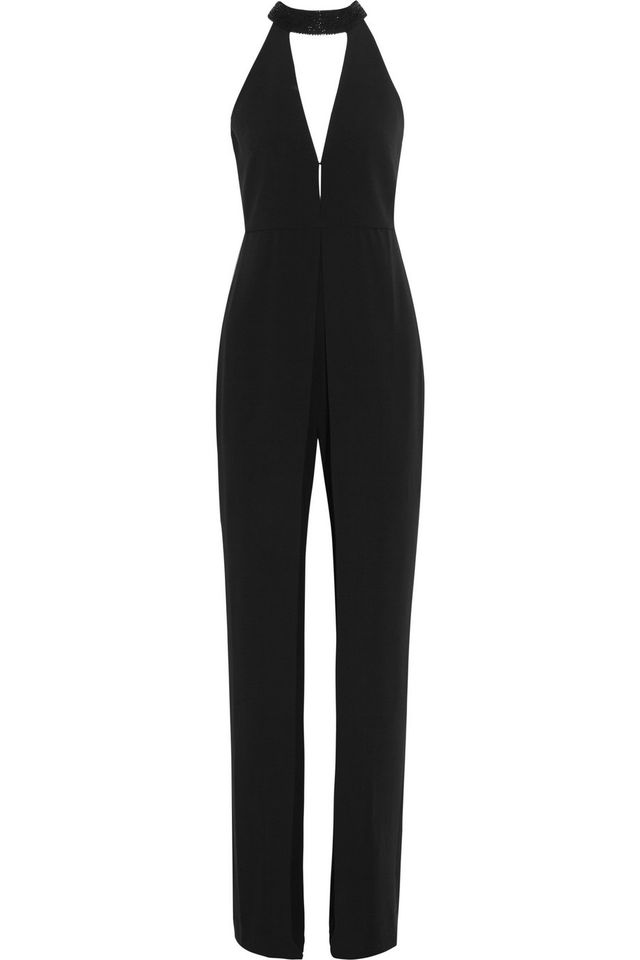Halston Heritage Embellished Stretch-Crepe Jumpsuit