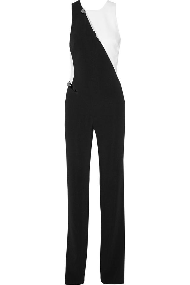 Mugler Two-Tone Cutout Stretch-Crepe Jumpsuit