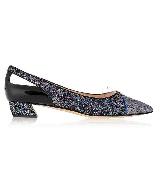 Fendi Cutout Glittered Leather Point-Toe Flats