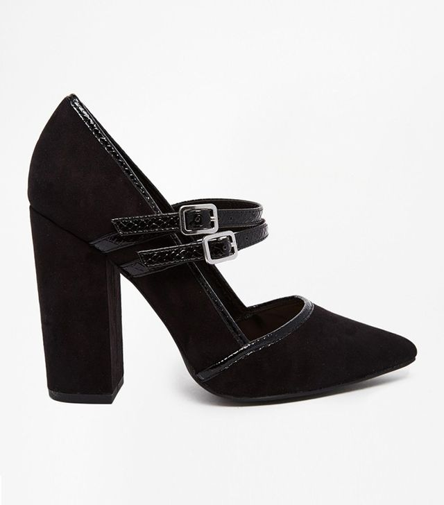 New Look Double Strap Pointed Court Shoe