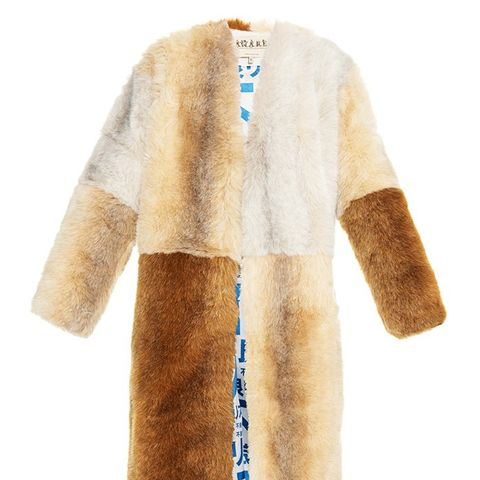 Three Suns Faux-Fur Patchwork Coat