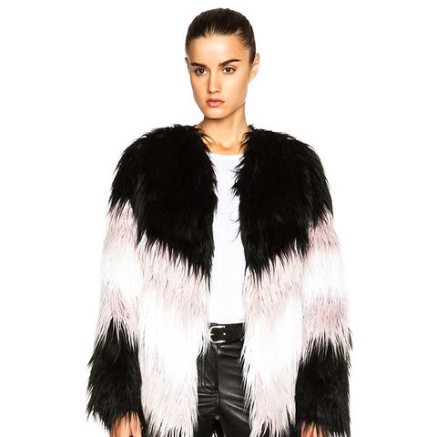 Short Chevron Faux Fur Jacket